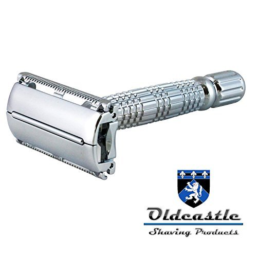 Oldcastle Double Edge Butterfly Safety Razor with 5 Double-Edge Stainless Steel Blades, Travel Case and Mirror