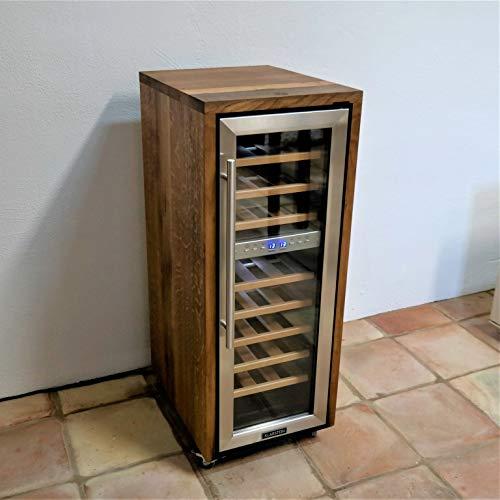 Frigorifero esclusivo per bottiglie di vino a 2 zone, realizzato con vecchie botti in legno (rovere)...