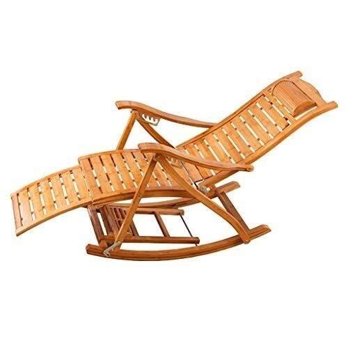 WXF Poltrona A Dondolo, Legno Massello di bambù Zero Gravity Comodo Schienale Ricurvo Chaise Longue Pedale Retrattile Design Sedie Reclinabili