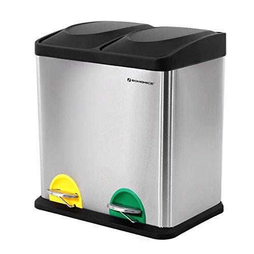 SONGMICS Mülleimer Abfallbehälter Abfalleimer mit Inneneimer Mülltrennsysteme Treteimer Edelstahl 30 Liter 2 x 15L, Gefärbt