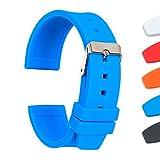 Ullchro Cinturini Orologi Impermeabile Orologi Bracciale Smooth Flessibile Donna Uomo   16, 18, 20, 22, 24, 26, 28mm Gomma Cinturino Orologio con Fibbia Dellacciaio Inossidabile (20mm, blu)