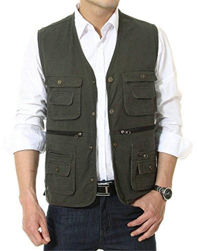 Hombres APTRO 100% algodón bolsillo multiuso chaleco, hombre, color Verde - verde, tamaño S(Tag XL)