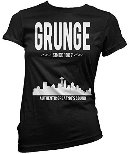 LaMAGLIERIA Camiseta Mujer Grunge Since 1987 - Camiseta 100% algodòn, L, Negro