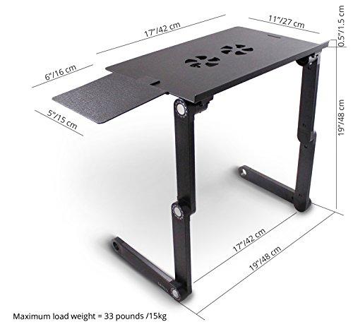 Lavolta - Vassoio pieghevole per computer portatile con mousepad e 2 ventole, in lega d'alluminio,...