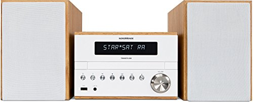 Nordmende Transita 300 Kompaktanlage (Mini Stereoanlage mit DAB+, UKW, CD-Player, USB-Schnittstelle, Bluetooth, 50 Watt RMS) weiß/holz