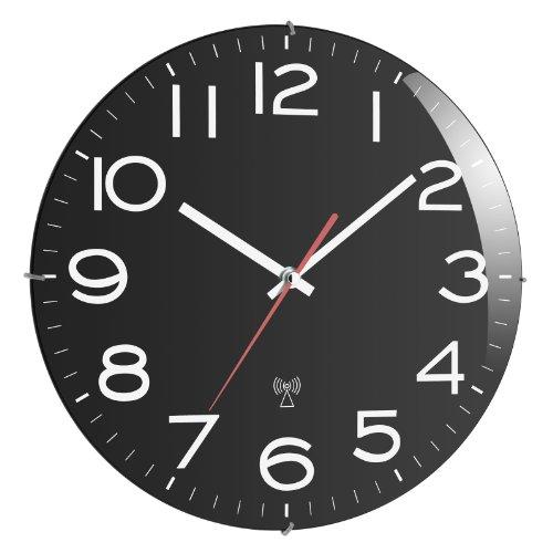 TFA, Orologio da parete con radio 603509 schwarz, Nero (Schwarz), plastico/alluminio