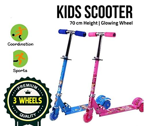 Shopme store Adjustable Handlebar Lean to Steer with LED Light Up 3 Wheel Kick Scooter for Boys and Girls (3-13 Years)