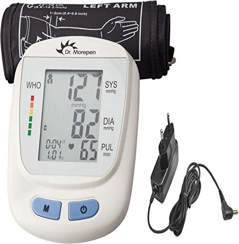 Dr. Morepen 09 Fully Automatic BP Monitor with AC/DC Adaptor and Charger (White)