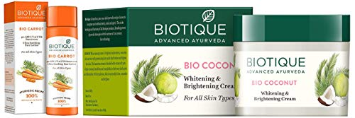 Biotique Bio Carrot Face & Body Sun Lotion Spf 40 Uva/Uvb Sunscreen For All Skin Types In The Sun, 1 and Biotique Bio Coconut Whitening And Brightening Cream, 50g