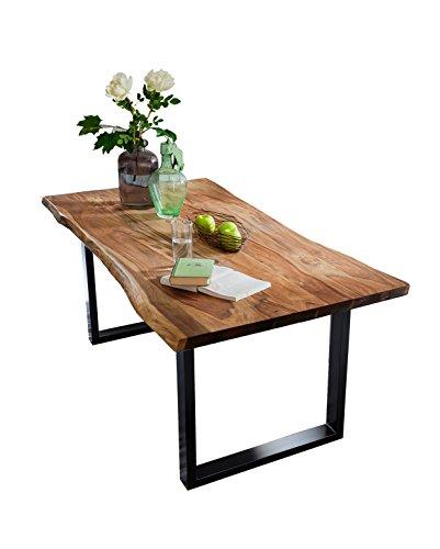SIT-Möbel Live Edge 7189-85 Esszimmertisch mit Baumkante, massives Akazienholz, Nussbaumfarben / schwarzes Gestell,  160 x 85 x 77 cm