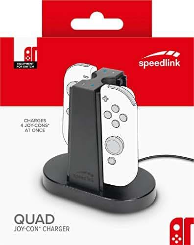 Speedlink 4-Fach Ladestation für Nintendo Switch Joycon - QUAD CHARGER USB (Einfache Einschubkonstruktion - Kompakte Größe - Ladestatus LED - 1m USB-C-Kabel) Schwarz (Generalüberholt)