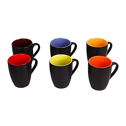 Anwaliya® Hand Made Multi-Coloured Gloss Finish Ceramic Coffee Mugs, 250 ML. (Set of 6 Pcs, Assorted Colours)