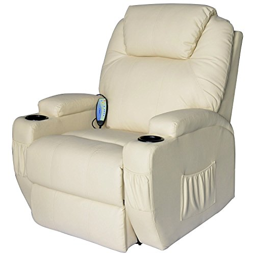 HOMCOM Poltrona Relax Massaggio Reclinabile a 8 punti poltrona TV riscaldamento crema
