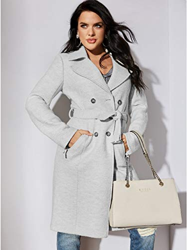 Guess Women's Bralee Brushed Trench Coat Grey