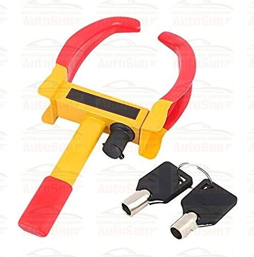 Autosun Universal Yellow Anti Theft Car Wheel Tyre Lock Clamp Heavy Duty Anti Theft Protective Car Wheel Lock Security Tire Clamp