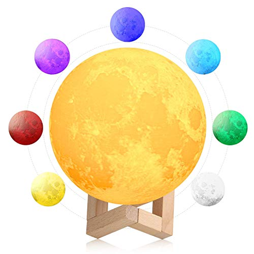 Quace 3D Printing LED Touch Sensor Switch USB Rechargeable Moon Lamp with Wooden Stand (7 Colours, 12 cm)