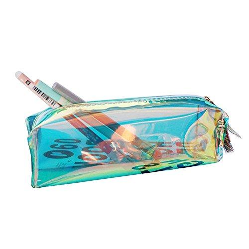 Teepao - Astuccio metallico per matite e pennelli da trucco, con ologramma trasparente e chiusura...