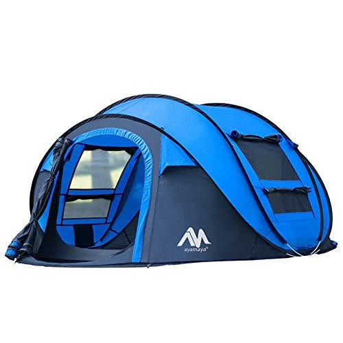 Tiendas de campaña para acampada de 3- 4 para personas fácil de levantar instantáneas,para acampada y equipamiento impermeable [2 puertas] privacidad automática Pop Up Big Family tienda,azul