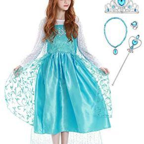 YOSICIL Elsa Disfraz y Accesorios para la Nieve Vestidos de Princesas Traje Parte del Fiesta de Navidad Costume de Fiesta de Cumpleaños Disfraces de Frozen para Halloween 3-9Años