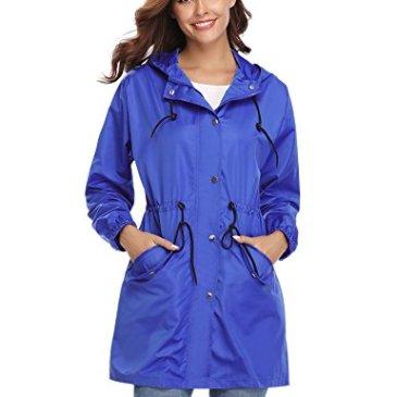 Manteau Imperméable Veste de Pluie Femme Poncho Pluie à Capuche Zippé Cape de Pluie Manches Longues Coup Vent Raincoat pour Voyage Camping Randonnée Vacance Unisexe