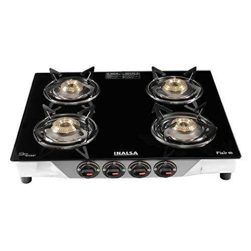 Inalsa Flair Stainless Steel Glass Top, 4 Burner Gas Stove, Black