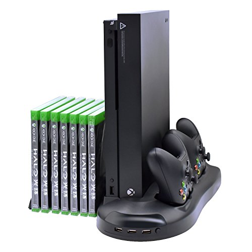 Microware Xbox One X Vertical Stand Cooling Fan with Game Discs Storage & Dualshock Charger, Controller Charging Station for Xbox One X