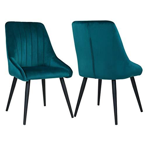 Duhome 2X Sedia da Sala da Pranzo in Tessuto (Velluto) Verde bluastro Blu Sedia Imbottita Design Retro con Piedini in Metallo Vintage Selezione Colore 8066