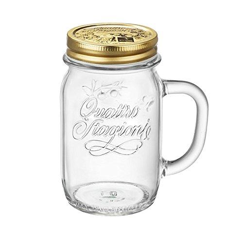 Confezione da 4pz Bicchiere vaso boccale con manico e tappo 4 stagioni Bormioli da 41,5cl per coktail bibite bevande succhi cod.9313