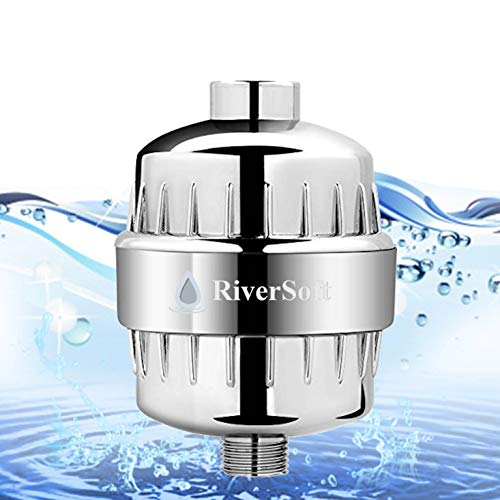 RIVERSOFT SF-15 PRO ABS shower and tap filter for hard water with 15 stage | Reduces hairfall, protects skin & prevents limescale (Chrome, Pack of 1)