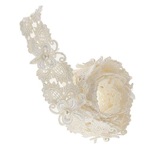 MagiDeal 1 Yarda Cinta Suministro de Boda Mariposa de Perla de Cordón Costura Apliques Color Blanco 3cm