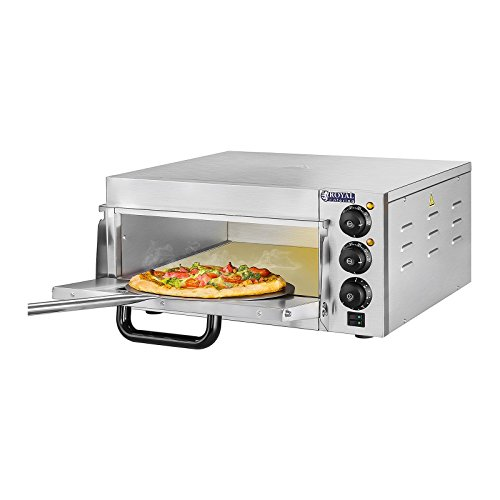 Royal Catering Pizzaofen Pizza-Backofen RCPO-2000-1PE (1 Backkammer, 2.000 W, getrennt regulierbare Hitze, Pizzastein aus Cordierit: 40x40x1,5 cm, Timer bis 120 min, Edelstahl)