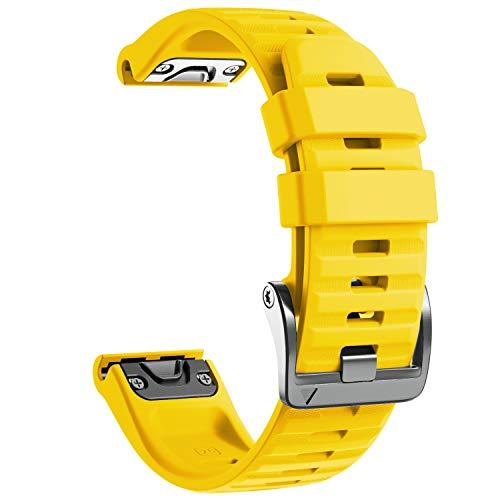 NotoCity Cinturino per Garmin Fenix 6X/Fenix 6X PRO/Fenix 3/Fenix 3 HR/5X/Fenix 5X Plus/, 26mm Cinturino di Ricambio in Silicone, Braccialetto Quick-Fit, Colori Multipli. (Giallo)