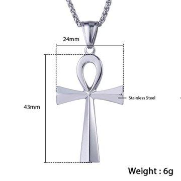 Trendsmax Hombres Mujeres Unisex Tono De Plata De Acero Inoxidable Egipcio Ankh Cruz De La Vida Egipto Símbolo Colgante Collar 14
