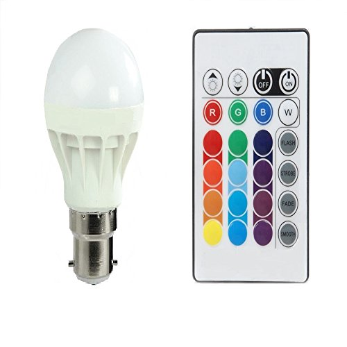 Kykit 3W Multi Colour LED Light Bulb with Remote - Colourful Variations of RGB Red, Green, Blue Color