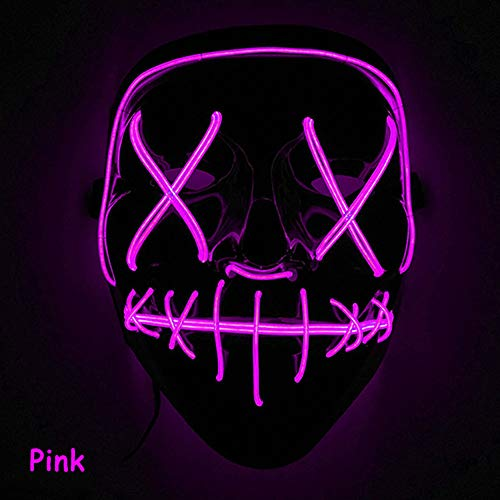 Leoie Scary Halloween Mask LED Light Up Mask for Festival Cosplay Halloween Costume Pink