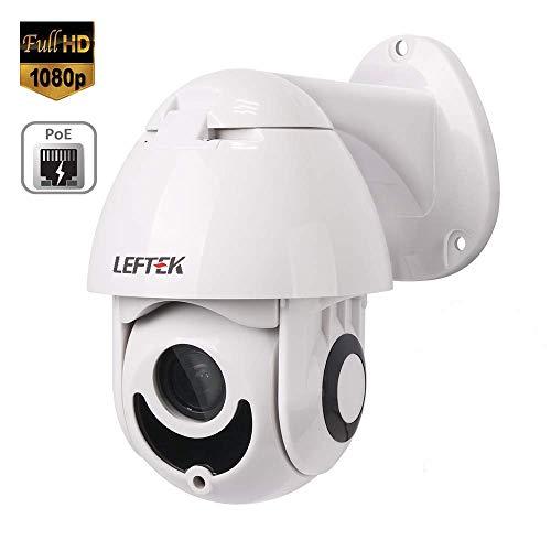 LEFTEK Telecamera IP PoE 1080P PTZ Telecamera di Sorveglianza P2P Pan/Tilt/Zoom IP Camera Videocamera di Sicurezza con Braccio,Onvif,H.265,Sensore di Movimento,Visione Notturna