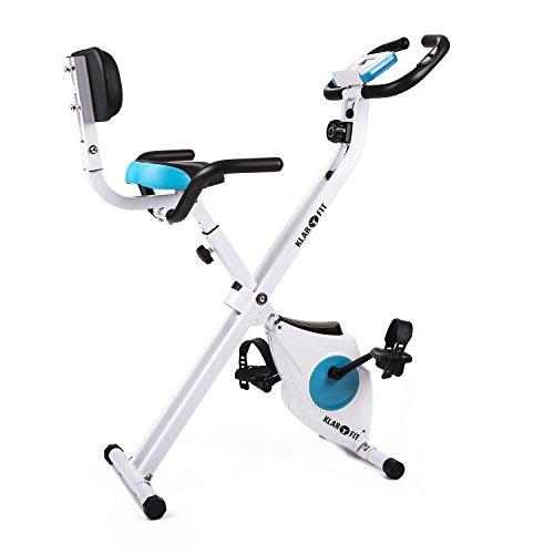 Klarfit Azura Pro - Ergomètre , Home-trainer , Vélo cardio , Ordinateur d'entraînement , Pulsomètre , 8 niveaux de résistance réglables , Force d'inertie: 3kg , Max. 100kg , Blanc-bleu
