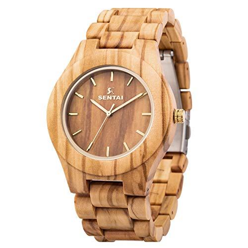 Sentai Orologio da uomo in legno orologio da polso in legno naturale orologi al quarzo vintage fatti...