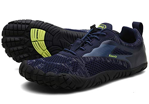 Voovix Herren Damen Barfußschuhe Fitnessschuhe Laufschuhe Minimalistische Traillaufschuhe Trekkingschuhe Wanderschuhe Outdoor Sneaker im Sommer Blau45