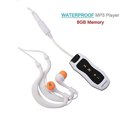 Reproductor MP3 impermeable Y&M (TM) 100 % IPX8 8 GB portátil, impermeable, con radio FM para natación, buceo, deportes
