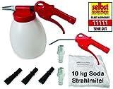 JWL Soda Strahlpistole Sodablaster im Set mit Druckluft-Ausblaspistole, 3 Flachdüsen und 10 kg Soda Strahlmittel