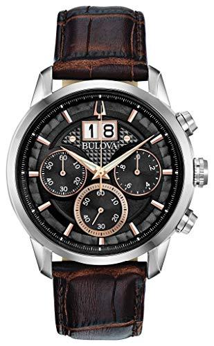 Bulova Orologio Cronografo Quarzo Uomo con Cinturino in Pelle 96B311
