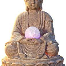 Pajoma 53899,0 Fuentes de Interior, Buda con iluminación LED poliresina, 18 cm