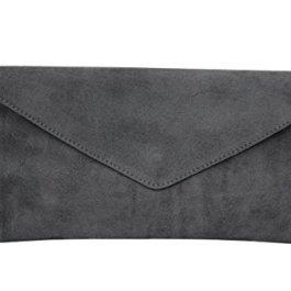 Ambra Moda WL801 – Clutch in pelle scamosciata con passamano
