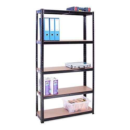 Scaffale per Garage - Scaffalatura - 180cm x 90cm x 30cm - Nero - 5 Ripiani (175Kg a ripiano) -...