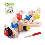 Juego de herramientas de madera, multifuncional combinación de tuerca de madera Tipo de desmontaje Rompecabezas de niños con manos Montaje de bloques de construcción, 24 piezas