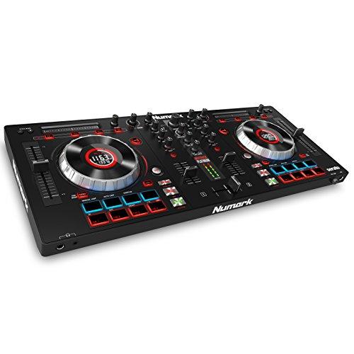 """Numark MixTrack Platinum - Controlador DJ todo en uno de 4 canales con pantallas LCD, platos metálicos de 5"""" y intefaz de audio de 24 bit + Serato DJ"""