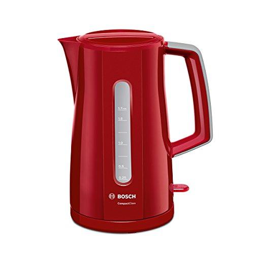 Bosch TWK3A014 Wasserkocher Compact Class, Frühstücksset, 2400 Watt, rot
