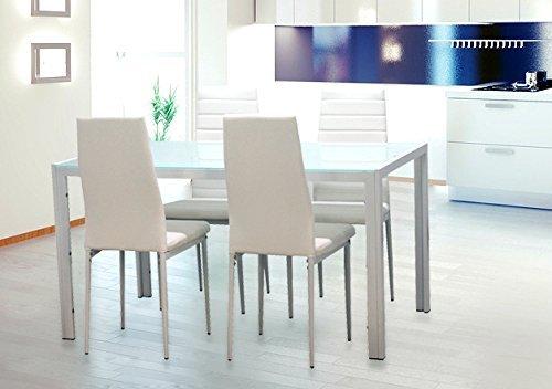 EBS-Esstisch-Stuhl-Set-Essgruppe-Tischgruppe-Esstischgruppe-Sitzgruppe-Esszimmergarnitur-Wei-Glas-Metall-Esstisch-4-Kunstleder-Stuhl
