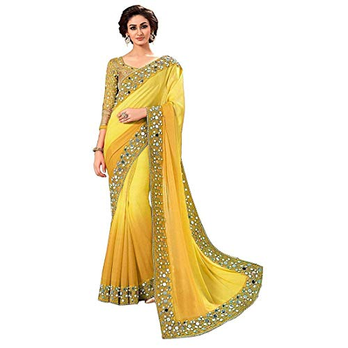 jashvi creation Faux Georgette Saree With Blouse Piece(Mirraryellow_Yellow Free Size)